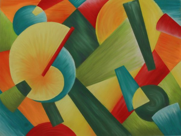 Bright, colorful shapes, similar to a piece Kandinsky would create