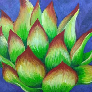 Green and red pointed cactus on blue background, painted in gouache.