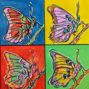 Hand painted, 4 butterflies in the style of Andy Warhol.