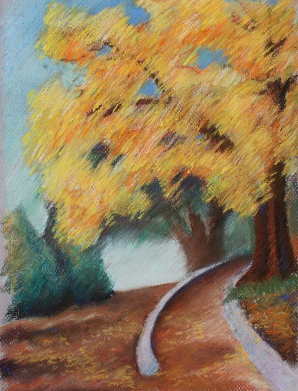 Walking Path in Idyllwild, California. With a winding path, blue skies, and an autumn-yellow tree