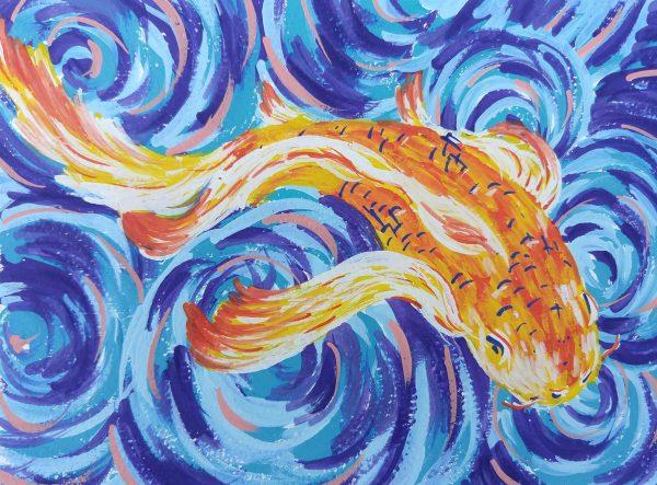 Colleen Biden's Van Gogh-esque Koi Fish