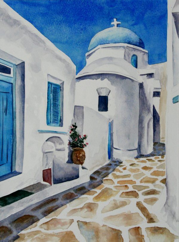 Watercolor painting of blue skies, blue roofs, white houses in Santorini, Greece.