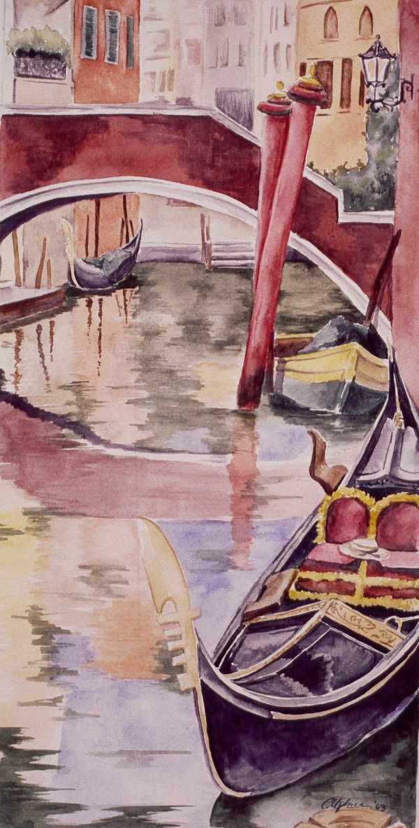 Watercolor painting of an canal in Venice, Italy