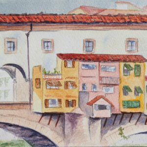 Watercolor painting of an Old Bridge in Italy