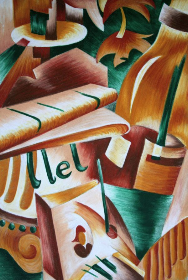 Cubist style painting of a still-life in neutral colors and green accents