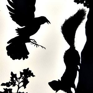 Black silhouetted images of a bird harassing a squirrel on a tree