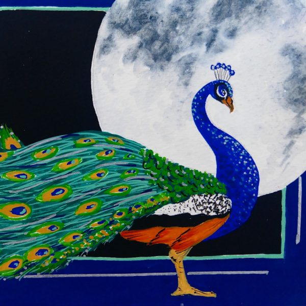 Peacock in front of a moon