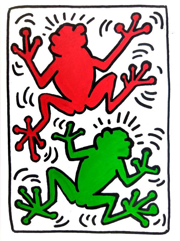 Red and green frog with with heavy black outline