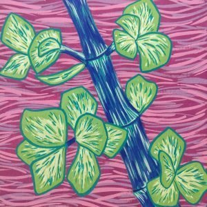 Small leaved green plant with blue stem on pink wavey background