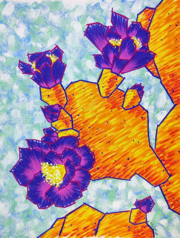 Bright orange paddle cactus with large violet blooms on a light blue patterned background