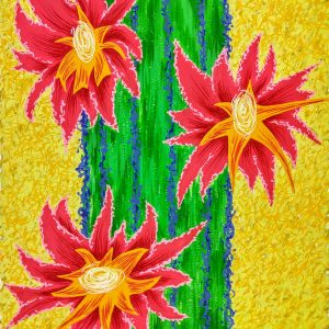 Column cactus with 3 bright pink blooms on a yellow patterned background.