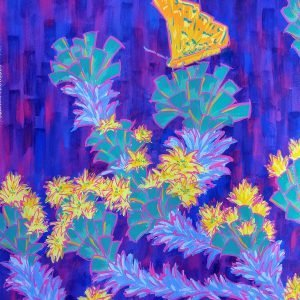 Bright yellow butterfly resting on a blue-green bush with yellow flowers on a violet and blue patterned background