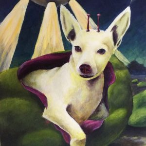 Dog emerging from a green pod with space ships above