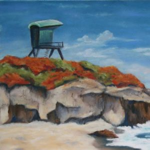 Life guard tower on a cliff above a beach