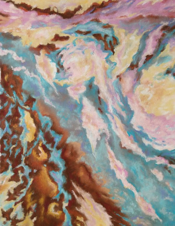 Pink swirls on blue and brown background