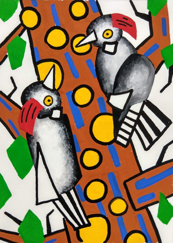 Two woodpeckers painted in a simplified style with bold black outlines