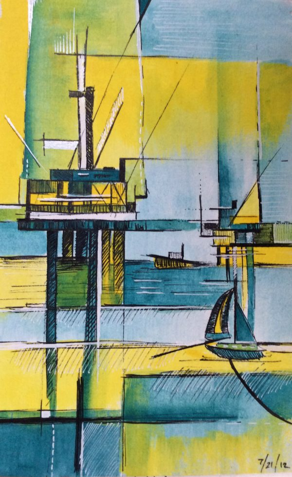 Layered rectangles of blue, yellow and green with simplified oil rigs and boat