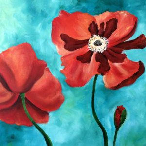 Two red-orange poppies loosely painted on a blue-green background
